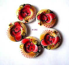 5 x Pretty Wood Buttons With Painted Hearts 4 Holes  30mm (R9D5) - Only 99p