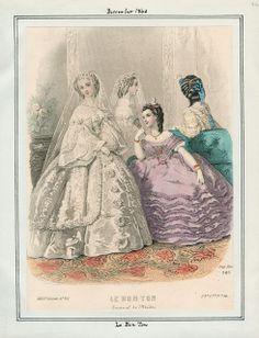In the Swan's Shadow: Le Bon Ton, December 1860.  Civil War Era Fashion Plate  Wedding, bridal