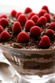 NYT Cooking: The imagination has no limitations, as we see from this recipe. It's chocolate pudding, chopped chocolate, whipped cream and raspberries layered over brownies, repeatedly. It's a fairy tale dessert to satisfy all comers.