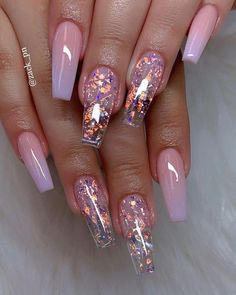 These fabulous nail art designs are super unique and glamorous, these will give you the trendy looks and give your nails a whole new edge to them. These designs below and next page include different shades like glitter pink, clear nails with etc. Summer Acrylic Nails, Best Acrylic Nails, Acrylic Nail Art, Cute Summer Nail Designs, Cute Summer Nails, Spring Nails, Clear Nail Designs, Summer Design, Clear Nails With Design