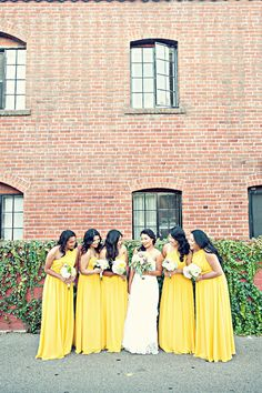 The bridesmaids wore long yellow chiffon gowns with asymmetrical necklines. Photo by Melvin Gilbert Photography Bridesmaid Dresses by Alfred Angelo Bride& Gown by Galina for David& Bridal Hair and Makeup by Rosa Keo   Turquoise Bridesmaid Dresses, Bridesmade Dresses, Yellow Bridesmaid Dresses, Wedding Dresses, Gray Weddings, Wedding Colors, Purple Wedding, Gold Wedding, Wedding Inspiration