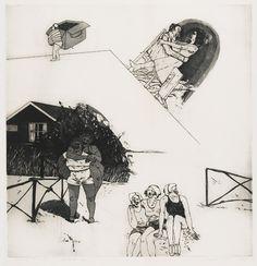 Family Scene II - C. Spermon - 1970  Maat: 63cm x 58cm  Materiaal: drukinkt op papier  Inventarisnummer: SZ57771