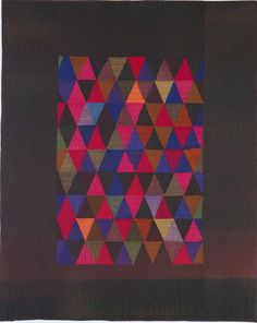 """""""Modern quilt"""" ?? No, Amish or Mennonite quilt 80+ yrs old. Triangles Crib Quilt, 1930. Made by Mrs. D. Miller. Kalona, Iowa."""