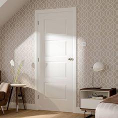 Prefinished Bespoke DX Oak Style Glazed Door - Choose Your Colour - Lifestyle Image. Oak Fire Doors, White Internal Doors, 1930s Internal Doors, 4 Panel Doors, Door Fittings, Door Sets, Bathroom Doors, Bathrooms, Modern Door