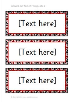 Maori art-themed classroom label templates (SB8584) - SparkleBox