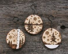 Winter Wonderland Set of 3 Birch Ornaments by TwigsandBlossoms