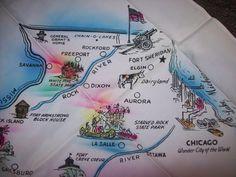 Vintage 50s 60s Illinois Cities Map Tourist by atomicbettiescloset