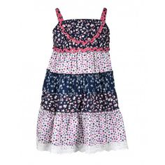 Budding Bees Girls Printed Layered Frock (Blue & White) #summerdresses #dressesforgirls #babyfrocks