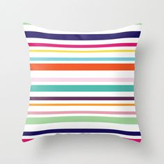 Modern Stripes Pillow Cover - Striped Pillow - Navy Blue Orange Green Pink - Modern Throw Pillow - Home Decor - By Aldari Home by AldariHome on Etsy