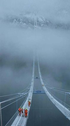 The Norway Hardanger Suspension 'Sky' Bridge is at Ullensvang, Hordaland, Norway. It crosses the Hardanger fjord. Opened in 2013. Length1380 m. Height 200 m Longest span 1310 m   i