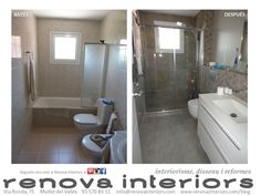 RENOVA INTERIORS. Reforma vivienda completa M&JM. Baño. Textura piedra destonificada. Blanco.