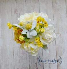 Silk Bridesmaid Bouquet, Yellow Bouquet, Billy Button, Yellow Wedding Ideas by blueorchidcreations on Etsy