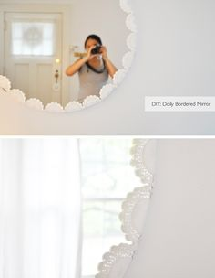 her instructions:  I basically took doilies, folded them in half and double-sided taped them all around the mirror (tucking in the back half behind the mirror).