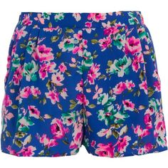 Neon Blue Floral Print Shorts ($7.71) ❤ liked on Polyvore featuring shorts, bottoms, pants, short, floral shorts, flower print shorts, short shorts, floral print shorts and floral printed shorts