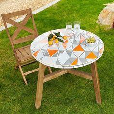 Mosaic Tiled Bistro Table - Mid-Century Orange | west elm: