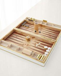 Cream+Shagreen+Backgammon+Set+by+AERIN+at+Bergdorf+Goodman.