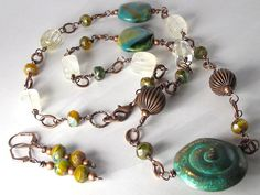 Blue Green Nautilus Copper Bead, Wire-Wrapped Necklace by LostMarblesJewelry, $59.95