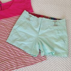 Mint green mini shorts Lightly worn and perfect for summer time! Navy blue, pink or white will go perfectly with these. The brand is called one five one. Shorts