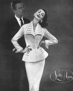 Lilli Ann Suit - 1956 - Dorian Leigh - this is the ad for the beige jacket in the next photo (I believe) - gotta love stylists