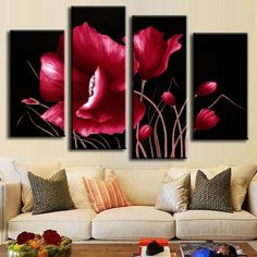 Frame Orchid Wall Painting Flower Canvas Painting Home Decoration Pictur - bdarop Wall Painting Flowers, Wal Art, Red Wall Art, Flower Canvas, Kitchen Wall Art, Living Room Paint, Home Wall Decor, Oil Painting Abstract, Poster Wall