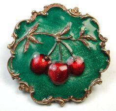 Sweet little button - Vintage Enamel Button Cherries on Branch Design