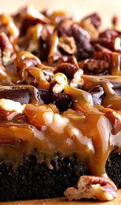 Gooey Chocolate Caramel Fantasy Cake - a single chocolate layer cake with a simply outrageous topping of creamy smooth caramel and tons of pecans.