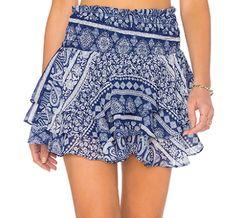 blue paisley print skirt