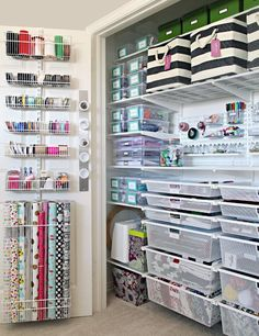The Ultimate Craft Closet Organization - Basteln Organisation Craft Closet Organization, Craft Room Storage, Closet Storage, Organizing Ideas, Wrapping Paper Organization, Pantry Storage, Organising, Gift Bag Storage, Craft Room Closet