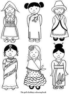 coloriage Divers costumes around the world
