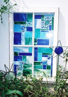 This Garden Glass Window is called 'Geo Blues'.