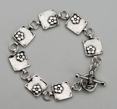 SHABLOOL ISRAEL Didae Classic 925 Sterling Silver Flowers Bracelet #Shablool #Chain