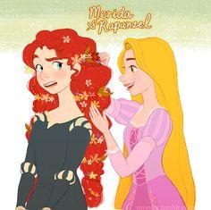 Merida and Rapunzel by nyoncat.tumblr.com