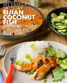 Fijian Coconut Fish with Basmati, Cucumber and Basil. Quick, healthy and yummy recipes for you and your little ones. http://www.myfoodbag.com.au/my-food-bags/family