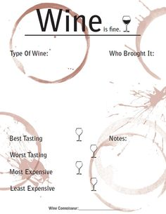 Wine tasting rating sheet - Printable Digital File