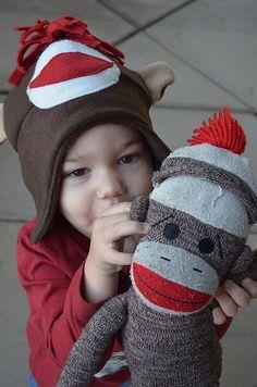 sock monkey fleece hat tutorial - adorable!