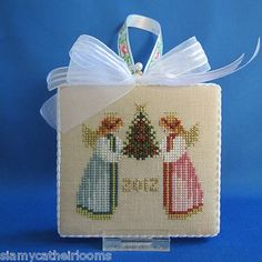 Christmas Two Angels 2012 Ornament Finished Completed Cross Stitch | eBay