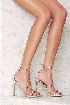 Nasty Gal Fit to Thrill Strappy Heel - SIlver Metallic - Shoes | Heels | Party Shoes | All Party