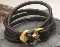 FREE SHIPPING.Men's leather bracelet. Brown leather wrap men's bracelet with golden plated anchor  clasp.
