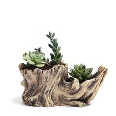 Creative Antique Wooden Flower Planters For Succulents Imitation Wood Cement Bonsai Garden Flowerpots Wood-Like Home Garden