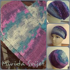 crocheted triangle scarf and beannie hat made of fine, soft, colorful wool Alize Burcum Batik