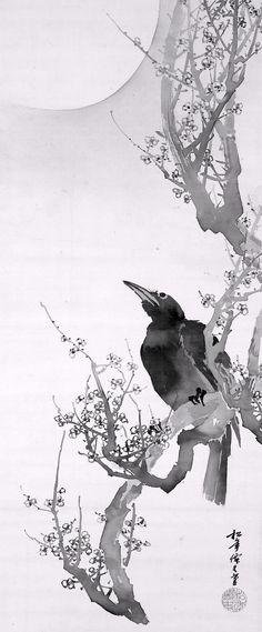 Suzuki Shonen 鈴木松年 (1848-1918), Crow and Plum Blossoms.