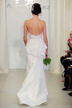 angel sanchez bridal 2014 strapless wedding dress floral peplum