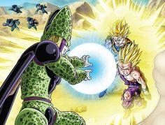 Dragon Ball Z, Gohan Vs Cell, Captain Marvel Shazam, Goku And Gohan, Transparent Stickers, Form, Drawings, Goku Super, Super Saiyan