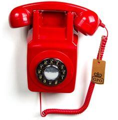 GPO - Teléfono retro con soporte para la pared, color rojo [Importado del Reino Unido] GPO