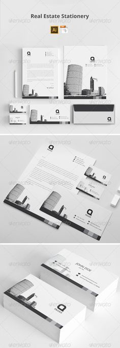 Buy Real Estate Stationery by azadcsstune on GraphicRiver. File Includes Letterhead and Letter size Business Card Envelope Presentation Folder Editable Illustrator files (ai. Corporate Stationary, Stationary Design, Logo Branding, Brand Identity, Letterhead Design, Presentation Folder, Card Envelopes, Name Cards, Business Brochure