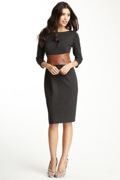 Nue by Shani Boatneck Faux Leather Waist Dress by Blowout on @HauteLook