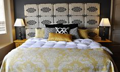 Gray and Yellow Master Bedroom - eclectic - bedroom - other metro - Brooke Ulrich