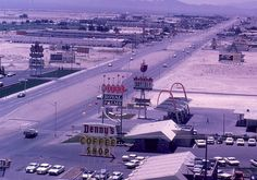 Las Vegas, Summer 1965 – view of the strip from the Dunes Hotel.  Note gas prices!  #vintagevegas