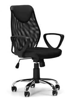 Lance Type chair. Imitation leather and mesh, black, height adjustable with tilt function