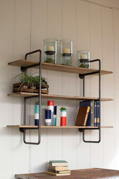 Three Tiered Metal Tube Frame Wall Shelf with Wooden Shelves - Hudson and Vine
